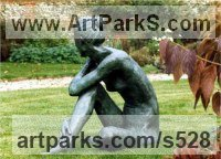 Bronze Nudes, Female sculpture by Anne Curry titled: 'nude in garden (Slim Naked Woman Girl Yard sculptures)'