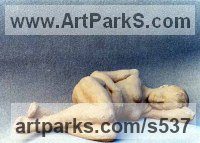 Terracotta Nudes, Female sculpture by Anne Curry titled: 'Sleeping nude (Terra Cotta garden Yard statue/statuette)'