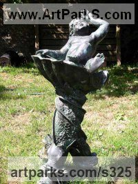 Water Features, Fountains and Cascades by sculptor artist Anon of the East titled: 'Boy in dolphin fountain' in Bronze