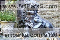 Animals in General Sculpture Statues by sculptor artist Anon of the East titled: 'Chinese Lion Dog and Baby (Bronze traditional Style Portal/Doorway Art)' in Bronze