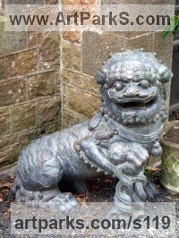 Animals in General Sculpture Statues by sculptor artist Anon of the East titled: 'Chinese Lion Dog and Ball (Bronze Traditional Portal/Doorway/Gatewayd)' in Bronze