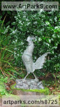 Bronze Domestic Animal sculpture by Anon of the East titled: 'Cockerel (Large Strutting Cosk or Rooster statue)'