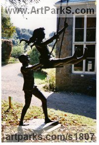 Couples or Group Sculpture by sculptor artist Anon of the East titled: 'Girl on Swing (bronze life size Girl and Boy Playing on Swing garden)' in Bronze