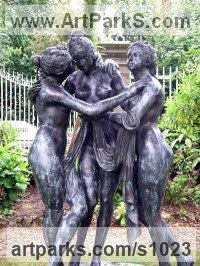 Nudes, Female Sculpture by sculptor artist Anon of the East titled: 'The Three Graces (Modern bronze Tributes to Boticellis nude Girl)' in Bronze