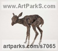 Bronze Deer sculpture by Ans Zondag titled: 'Baby Deer (Little/SmallYoung Faun bronze sculpture/statuette statue)'