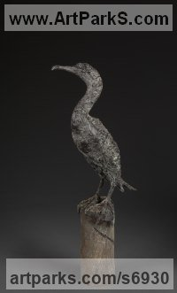 Bronze American Animal Bird Reptile and Fish Sculptures, Statues, statuettes, figurines sculpture by Ans Zondag titled: 'cormorant (Perched Standing life size Seabird statue sculpture)'