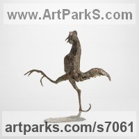 Bronze Humorous Witty Amusing Lighthearted Fun Jolly Whimsical Sculptures Statues statuettes figurines sculpture by Ans Zondag titled: 'Hooligan Haan (Strutting Young Bantam Cockerel statue)'