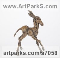 Bronze Donkeys Zebras Mules Asses and Unicorns sculpture / statue sculpture by Ans Zondag titled: 'Lolla (Baby/Foal/Newborn Donkey statuette sculpture statue for sale)'