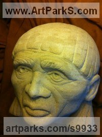 Ancaster Limestone Busts and Heads Sculptures Statues statuettes Commissions Bespoke Custom Portrait Memorial Commemorative sculpture or statue sculpture by Anthony Bartyla titled: 'Aztec King Montezuma (Small Head Bust Stone statue)'