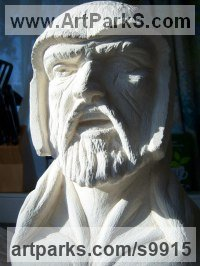 Ancaster Limestone Literary and Musical Characters sculpture by Anthony Bartyla titled: 'Beowulf from Legend (Carved Stone Head sculpture)'