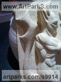 Tadcaster Limestone Fantasy sculpture or Statue sculpture by Anthony Bartyla titled: 'Devils Imp (Little Carved Stone Gargoyle statue)'