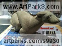 Sandstone Dogs sculpture by Anthony Bartyla titled: 'Greyhound in relief (Carved Stone Wall sculptures)'