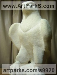 Ancaster Limestone Wild Bird sculpture by Anthony Bartyla titled: 'Hawk (Little Carved Stone Bird of Prey sculpture)'