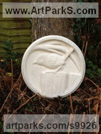 Sandstone Wild Bird sculpture by Anthony Bartyla titled: 'Jenny Wren on a Fence (Carved Circular Plaque statue)'