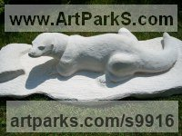 Limestone Stylized Animals sculpture by Anthony Bartyla titled: 'Otter (Carved Stone Hunting garden Yard sculpture)'