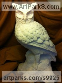 Tadcaster Limestone Wild Bird sculpture by Anthony Bartyla titled: 'Wood Owl (Little Carved Stone Perched sculptures)'