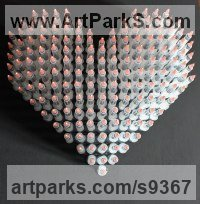 Hypodermic syringes and needles on marin Calm Love and Affection Sculptures or Statues sculpture by Anthony Moman titled: 'Love Is The Drug (Modern Art Heart Wall sculptures)'