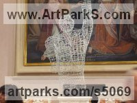Barbed Wire and Swarovski Crystals Figurative Abstract Modern or Contemporary Sculptures Statues statuary statuettes figurines sculpture by Anthony Moman titled: 'Unprotected Love (Wire Torso abstract Art statues)'