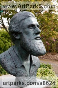 Bronze Portrait Sculptures / Commission or Bespoke or Customised sculpture by Anthony Smith titled: 'Alfred Russel Wallace Bust (Lifesize Head statues)'
