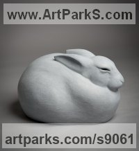 Bronze Hares and Rabbits sculpture by Anthony Smith titled: 'Arctic Hare (Sitting Close Fluffed sculpture statue)'