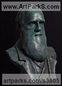 Bronze Historical Character Statues / sculpture by Anthony Smith titled: 'Charles Darwin (Bronze portrait bust sculpture)'