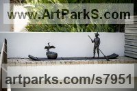Bronze Animals and Humans Sculptures, Statues and Statuettes sculpture by Anthony Smith titled: 'Chinese Cormorant Fisherman (Iconic Man and Bird Combo statue sculpture)'