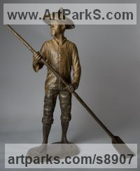 Bronze Small / Little Figurative sculpture / statuette / statuary / ornament / figurine sculpture by Anthony Smith titled: 'Chinese Fisherman (bronze Life Like sculpture statue)'