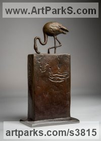 Bronze American Animal Bird Reptile and Fish Sculptures, Statues, statuettes, figurines sculpture by Anthony Smith titled: 'Flamingo (small Wading Feeding sculpture statuette)'