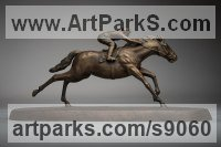 Bronze Horse and Rider / Jockey Sculpture / Equestrian sculpture by Anthony Smith titled: 'Galloping Racehorse (Full Stretch Little sculptures)'