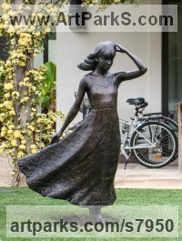 Bronze Cloud, Breeze, Wave and Wind sculpture by Anthony Smith titled: 'Girl with Flowing Dress (life size Yard garden statue)'