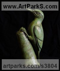 Bronze Birds Sculptures or Statues sculpture by Anthony Smith titled: 'Green Woodpecker (Yaffle and stump bronze statue sculpture statuette)'