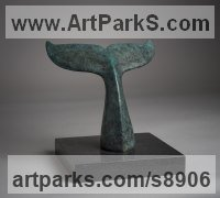 Bronze Sea Fish sculpture by Anthony Smith titled: 'Humpback Whale (Little Thrashing Tail statuette, statue)'