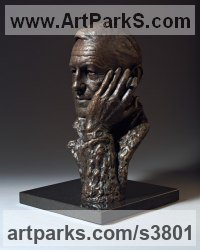 Bronze on marble base Famous People Sculptures Statues sculpture by Anthony Smith titled: 'Ian Fleming (Commission bronze Bust Head Face sculpture statue)'