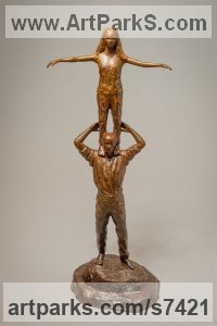 Bronze Parent - Child sculpture by Anthony Smith titled: 'Optimism (Father and Daughter Standing Balancing statuettes Figurine)'