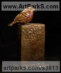 Bronze Garden Bird and Animal sculpture by Anthony Smith titled: 'Summer Robin (perched Bronze Robin Redbreast statuette statue sculpture)'