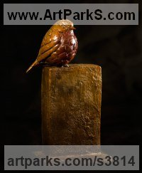 Bronze Birds Sculptures or Statues sculpture by Anthony Smith titled: 'Winter Robin (bronze life size fluffed up Robin Bird statue sculpture)'