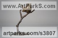 Bronze Wild Bird sculpture by Anthony Smith titled: 'Wren (life size Small Bird Perched on twig, Bronze sculpture statuette)'
