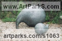 Animal Form: Abstract Sculpture by sculptor artist Anthony Veale titled: 'Apostrophes (Mother and Child bronze abstract Contemporary statues)' in Bronze