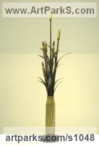 Bronze sculpture by sculptor Anthony Veale titled: 'Bullet Grass (Brass Bullet Symbolic War sculpture statuette)'
