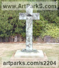 Bronze Religious sculpture by Anthony Veale titled: 'Retrospection (Bronze memorial modern cross statue)'