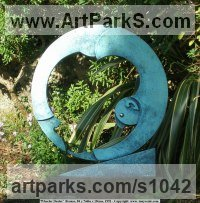 Bronze Round Disk, Dish, Flat Circular Ring Shaped Sculptures / Statues statuette statuary sculpture by Anthony Veale titled: 'Steel-eyed Man (Modern bronze Contemporary abstract garden Yard statue)'
