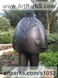 Bronze Allegorical / Parable sculpture by Anthony Veale titled: 'Suit (Bronze Fun Caricature of a Commuter/Business Man)'