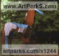 Oak & Pat Copper, Cor-Ten & Rimkex Steel Abstract Contemporary Modern Outdoor Outside Garden / Yard sculpture statuary sculpture by sculptor Antonia Spowers titled: 'Trojan Horse (abstract Steel garden/Yard sculptures)'