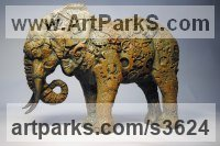 Bronze Resin Animal Kingdom sculpture by April Young titled: 'Clockwork Elephant (bronze small Semi abstract sculptures/statuettes)'
