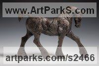 Bronze Resin Horses Heavy / Working Shire, Plough, Dray, Barge, Horses Sculptures Statues statuettes commissions sculpture by April Young titled: 'Strutting Coils Horse (Cart Bronze resin abstract Contemporary statues)'
