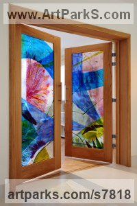 Fused glass and oak Glass or Acrylic Transparant sculpture by Arabella Marshall titled: 'French doors (abstract Coloured Glass Door Panel)'