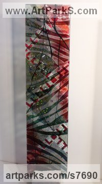 Fused glass Glass or Acrylic Transparant sculpture by Arabella Marshall titled: 'Tall panel Two (Coloured Stained Modern Glass Panel)'