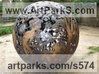 Light and Sound sculpture by sculptor artist Aragorn Dick-Read titled: 'Fireball III (Large Spherical Outdoor statues)' in Steel / iron