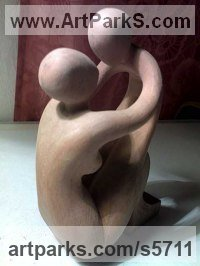 Wood Human Form: Abstract sculpture by Arsen Alaverdyan titled: 'Mother and Child (Small abstract Wood sculpture)'
