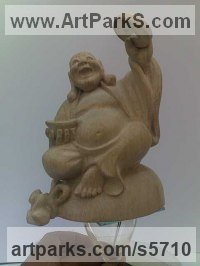 Carved Wood Religious sculpture by Arsen Alaverdyan titled: 'Smiling Buddha (Carved Wood Seated Happy statue)'